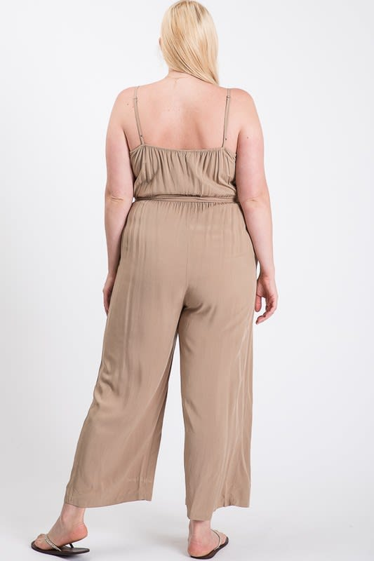 Summertime Poly Linen Jumpsuit - Khaki - Back
