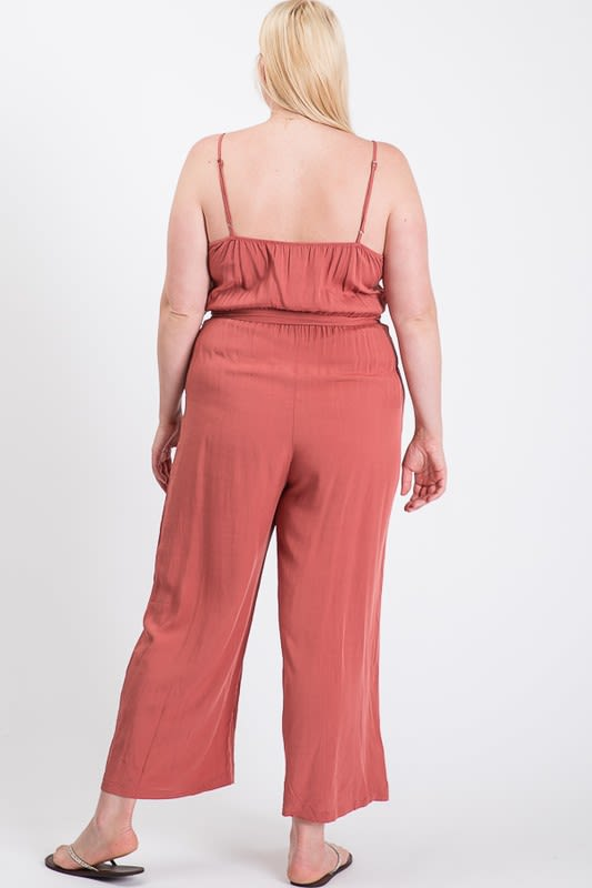 Summertime Poly Linen Jumpsuit - Terracotta - Back