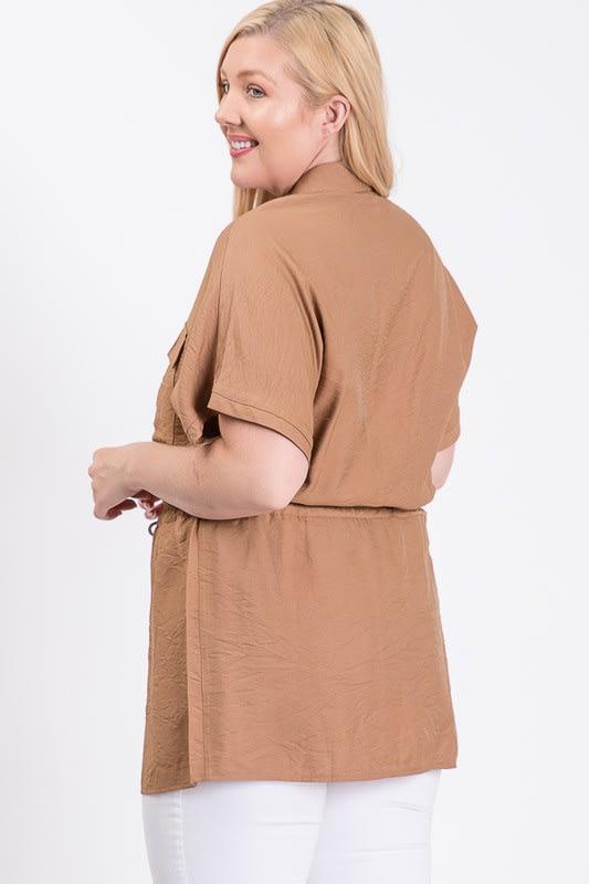 Tunic Shirt W/ Elastic Waist - Taupe - Back
