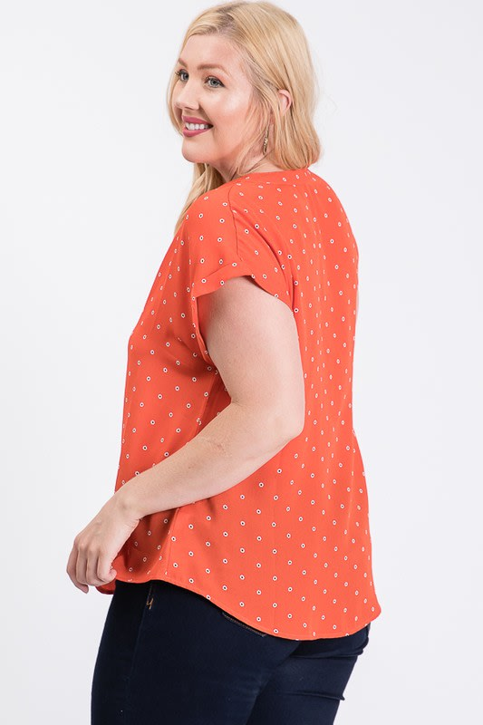 Dot Print Top With Pleated Neckline - Rust - Back