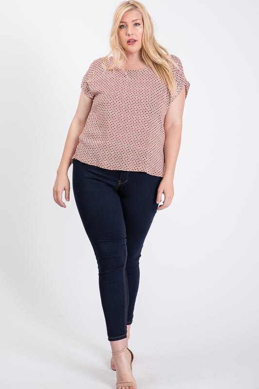 Challis Patterned Top - Rust - Front