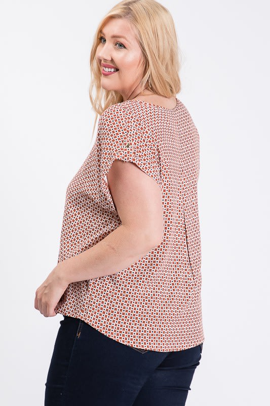 Challis Patterned Top - Rust - Back