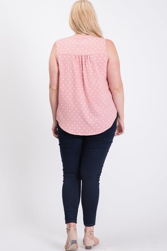 Polka-Dot-Loving Sleeveless Top - Pink - Back
