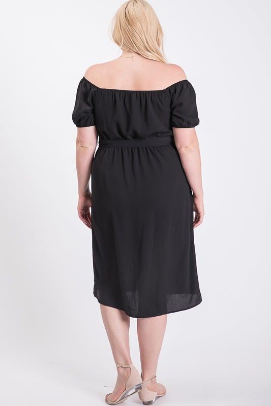 Sunny Day Poly Linen Button Dress - Black - Back