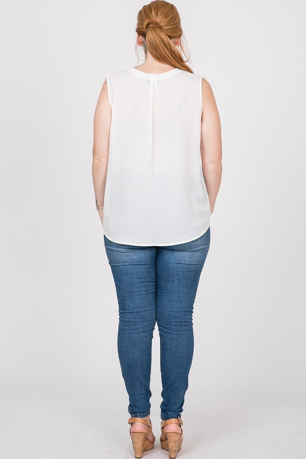 Plain Pintuck Top - White - Back