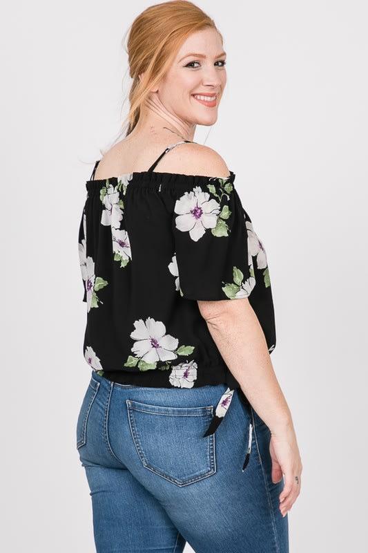 Big Flowers Off-Shoulder Top - Black - Detail
