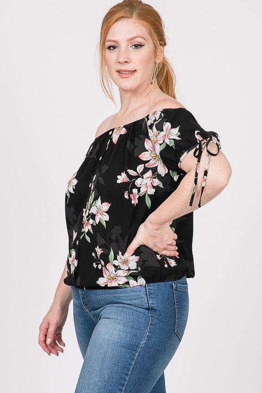Delicate Floral Top - Black - Detail