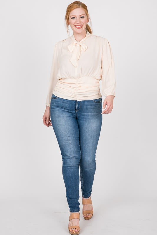 Business Time Smocking Blouse - Off white - Front