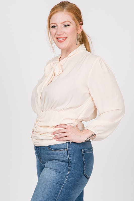 Business Time Smocking Blouse - Off white - Detail