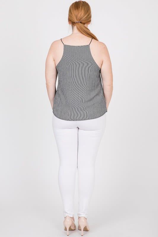 Sleeveless Patterned Top - Black - Back