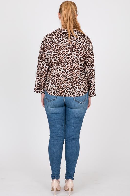 Tiger Print W/ Bottom Twist Top - Leopard  - Back