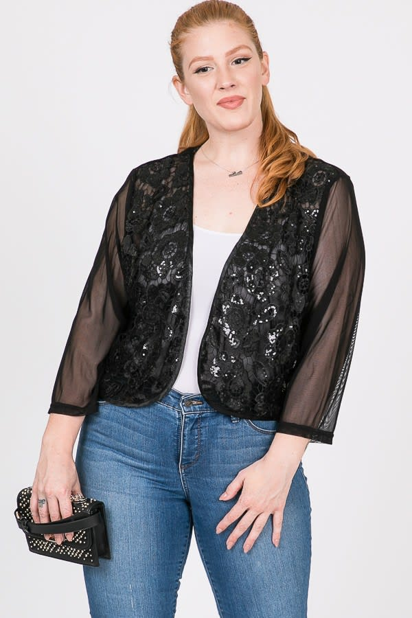 Party Hard Sequin Cardigan - Black - Front