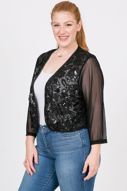 Party Hard Sequin Cardigan - Black - Detail