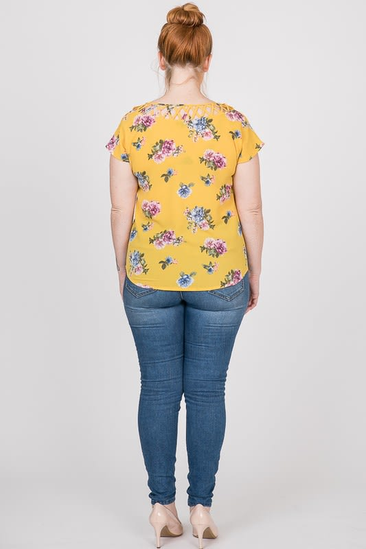 Colorful & Floral Print Top - Mustard - Back