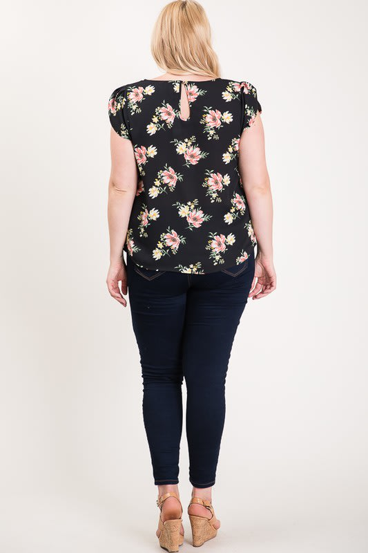 Light And Bright Floral Top - Black - Back