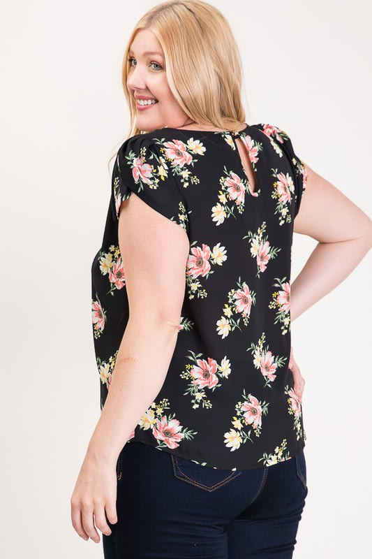 Light And Bright Floral Top - Black - Detail