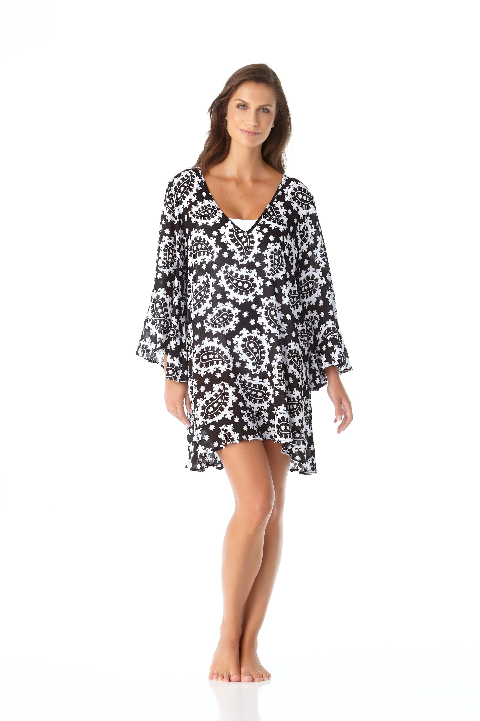 Anne Cole® Riveria Paisley Flounce Sleeve Tunic Swimsuit Cover-Up - Black/White - Front