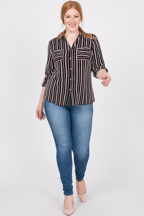 Never Gets Old Striped Shirt - Black - Front