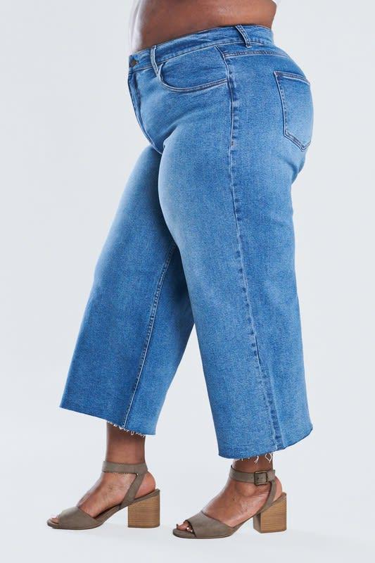 Denim Wide Leg Crop Pants - Medium stone - Detail