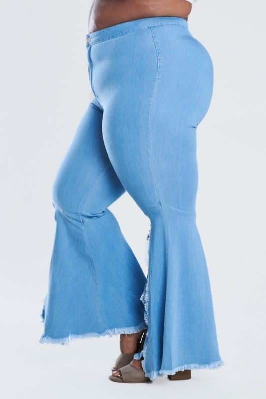 Jeans Ft A Sexy Split Fare - Light stone - Detail