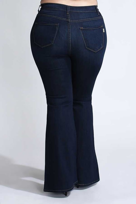 Dark Denim Wide-Leg Pants - Dark stone - Back