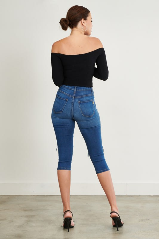 Ripped Denim Capri Pants - Medium stone - Back