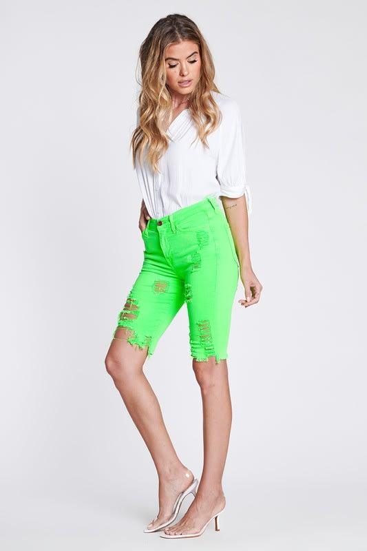 Bold Green Neon Capri Pants - Neon green - Detail