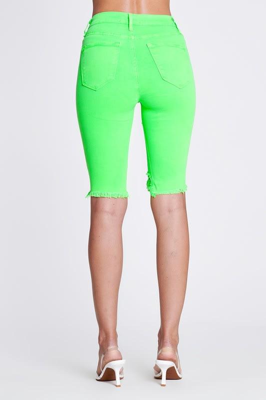 Bold Green Neon Capri Pants - Neon green - Back