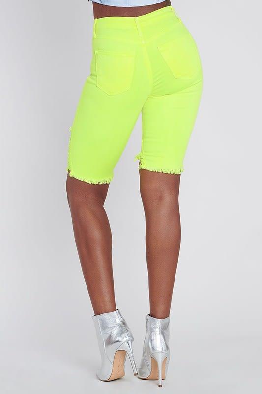 Bold Yellow Neon Capri Pants - Neon yellow - Back