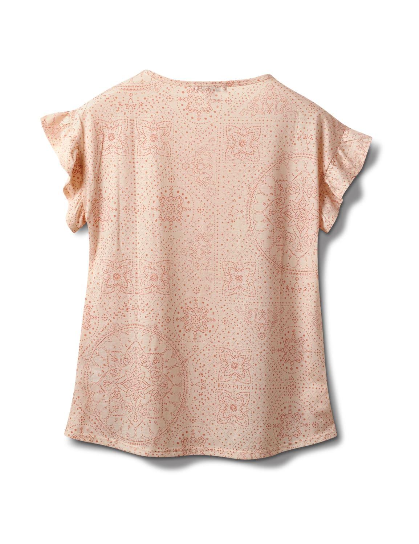 Flutter Sleeve Floral Mirror Print Tee - Pink - Back