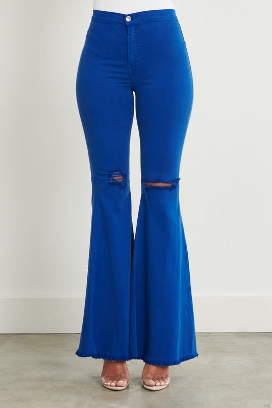Royal Blue Distressed Flare Jeans - Royal  - Detail