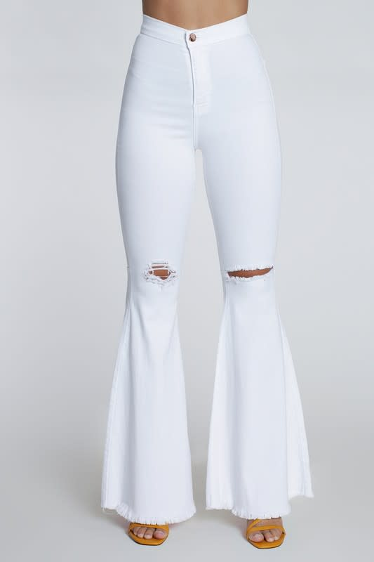 White Distressed Flare Jeans - White - Detail