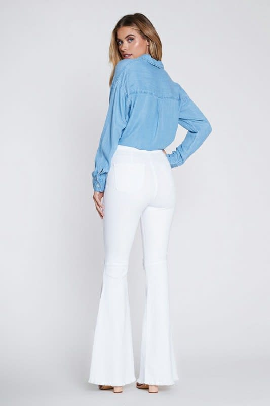 White Distressed Flare Jeans - White - Back