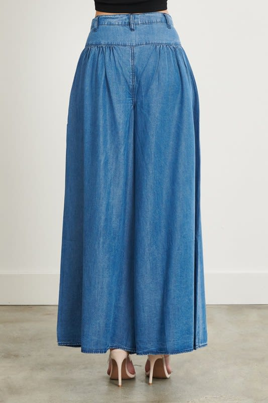 High Waist Chambray Jeans - Medium stone - Back