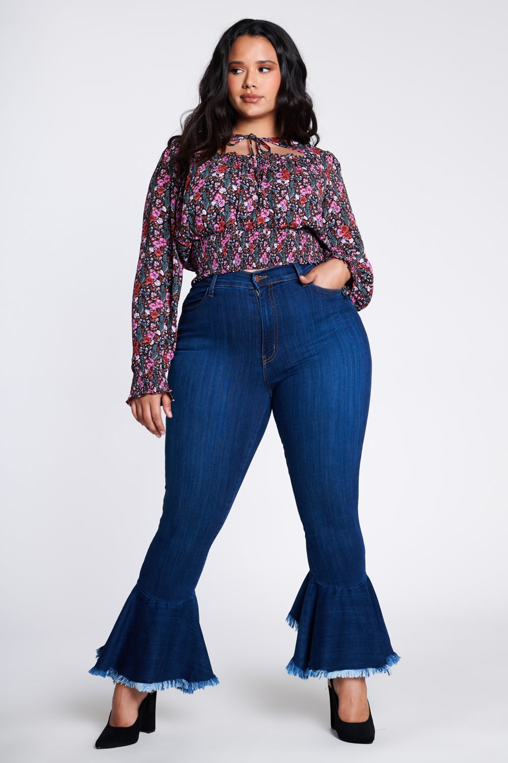 Ruffle Bell-Bottom Jeans - Medium stone - Front