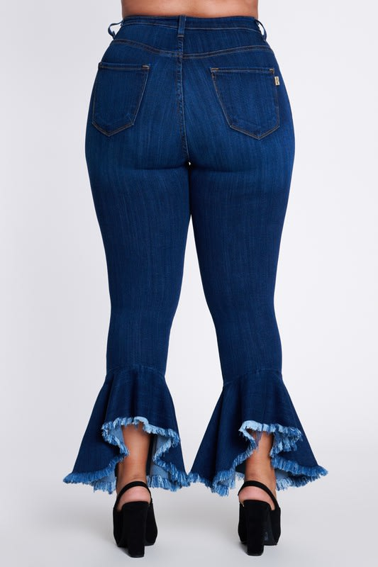Ruffle Bell-Bottom Jeans - Medium stone - Back