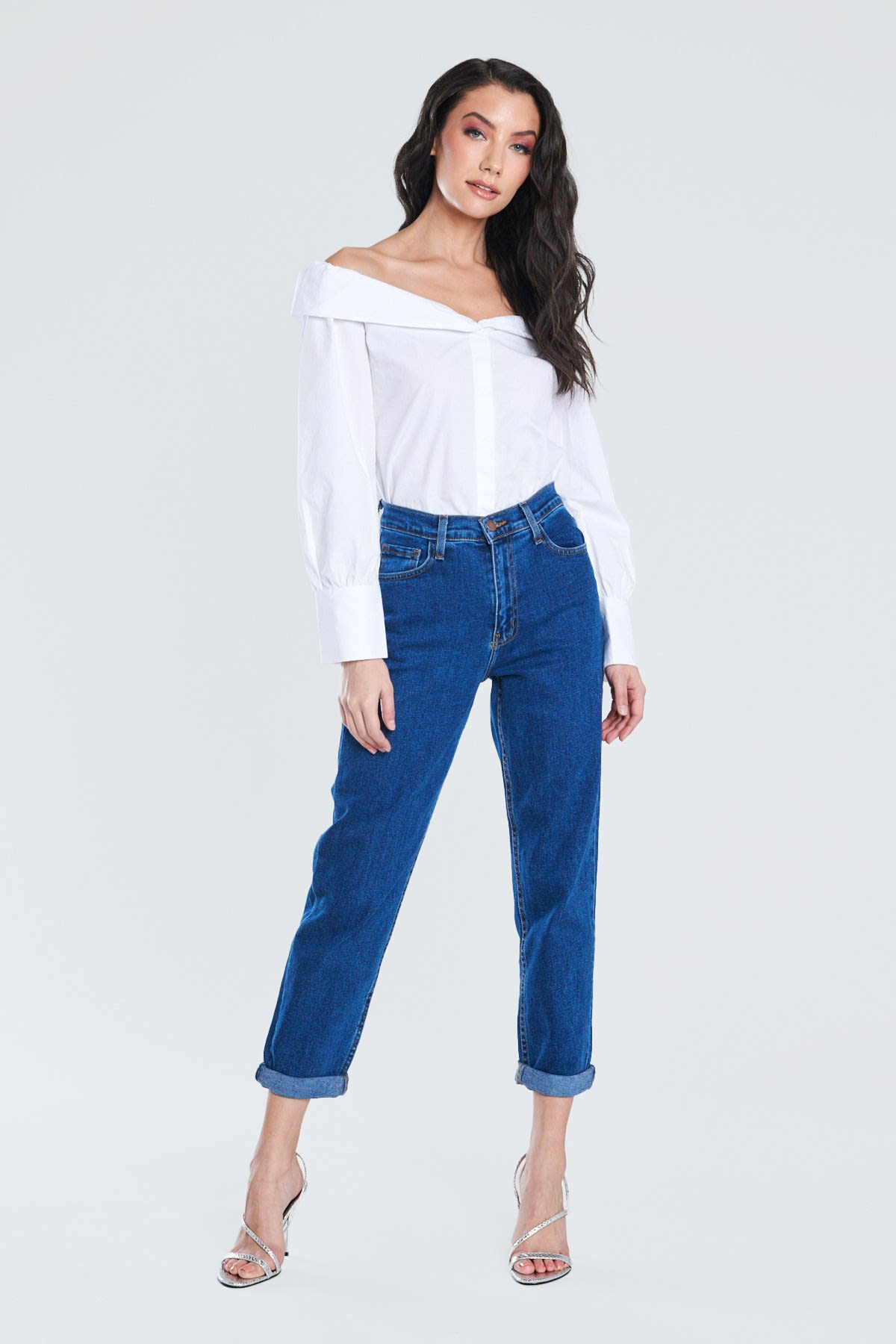 Dark Blue Classic Mom Jeans - Dark stone - Front