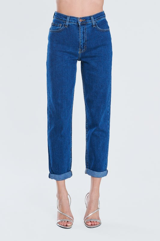 Dark Blue Classic Mom Jeans - Dark stone - Detail