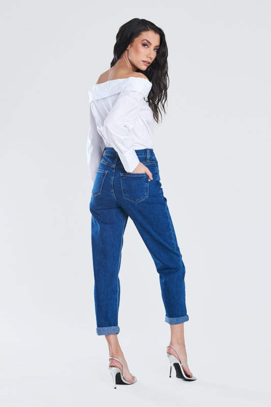 Dark Blue Classic Mom Jeans - Dark stone - Back