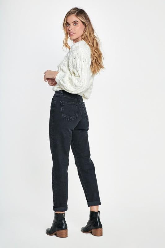 Classic Mom Jeans - Vintage black  - Back