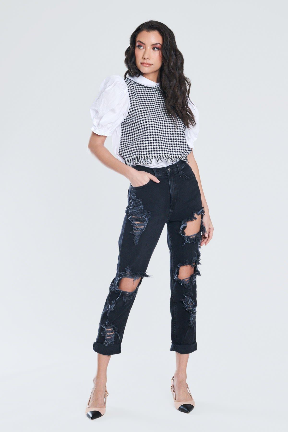 Savage Distressed Mom Jeans - Vintage black  - Front