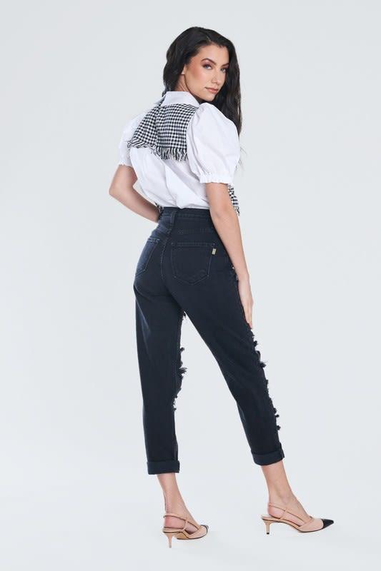 Savage Distressed Mom Jeans - Vintage black  - Back