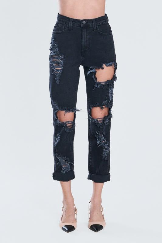 Savage Distressed Mom Jeans - Vintage black  - Detail