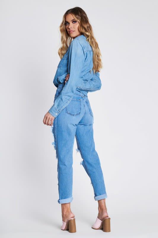 Savage Distressed Mom Jeans - Medium stone - Back