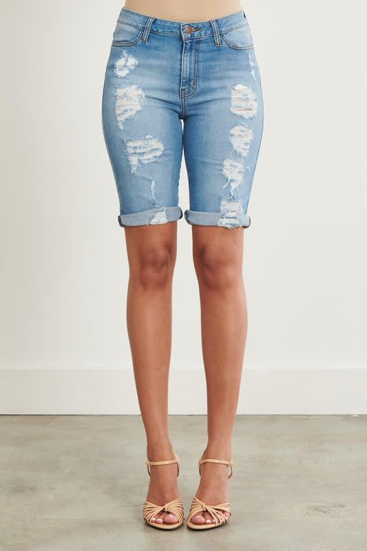 Denim Ripped Shorts - Medium stone - Detail