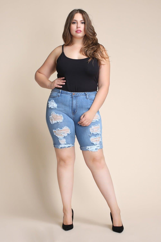 Plus Size Distressed Bermuda Shorts - Medium stone - Front