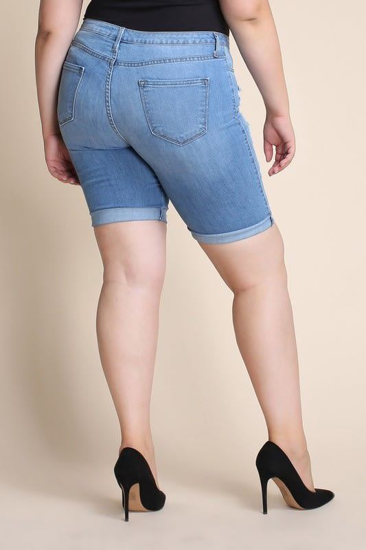 Plus Size Distressed Bermuda Shorts - Medium stone - Back