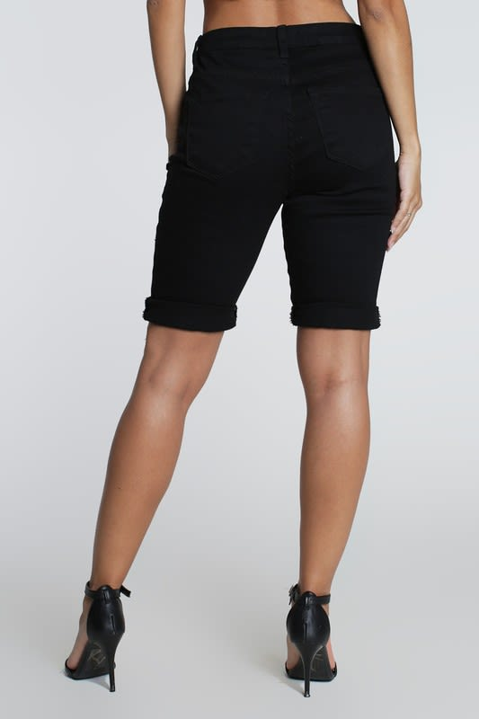 Distressed Boyfriend Bermuda Shorts - Black - Front
