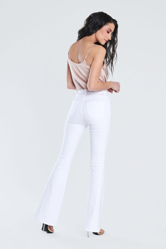 White Classic Flare Jeans - White - Back