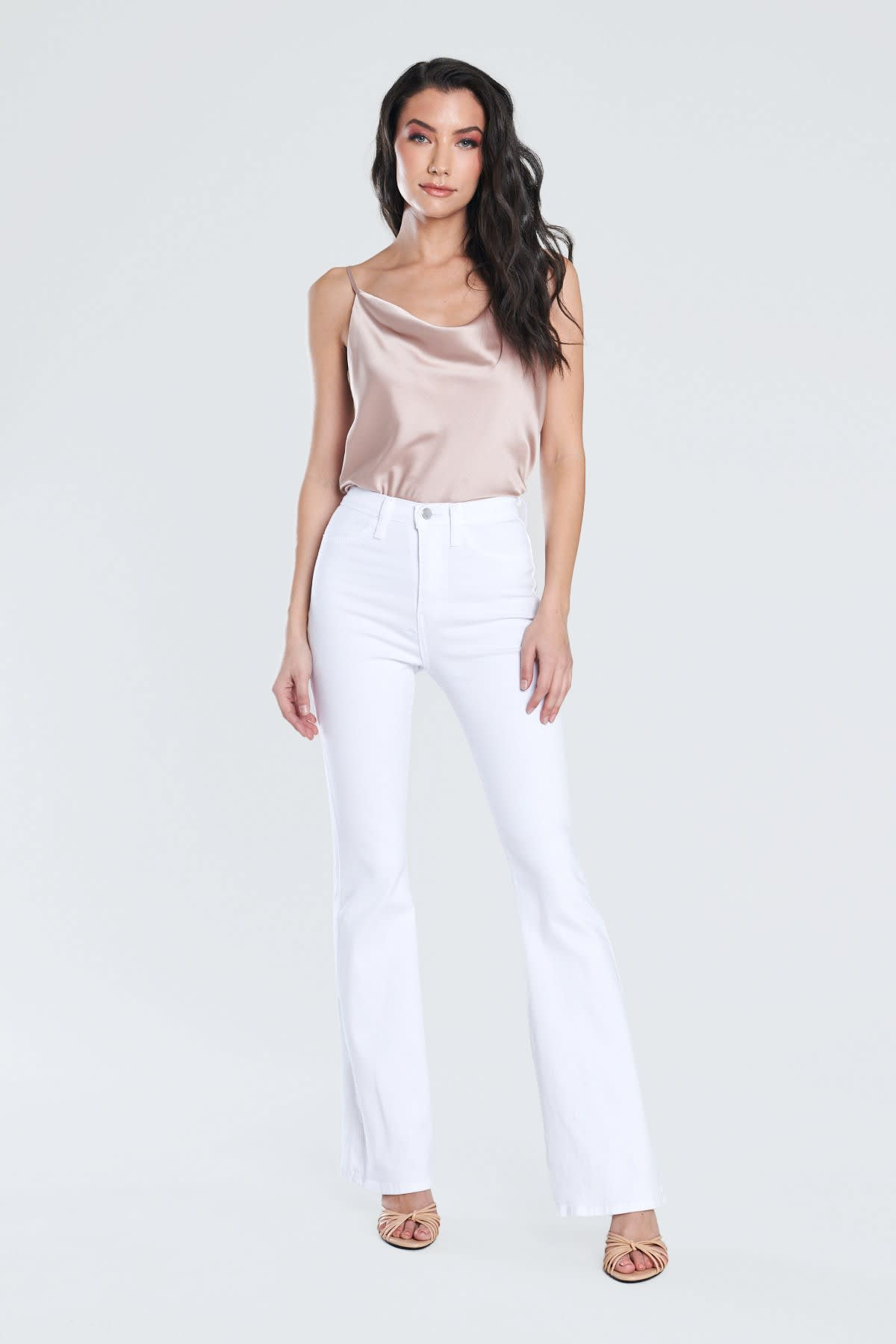 White Classic Flare Jeans - White - Front
